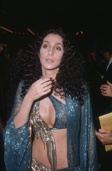 Cher + Bob Mackie = A match made in sparkling heaven. At the opening of  Filmex  at the LA Film Festival in March 1977.