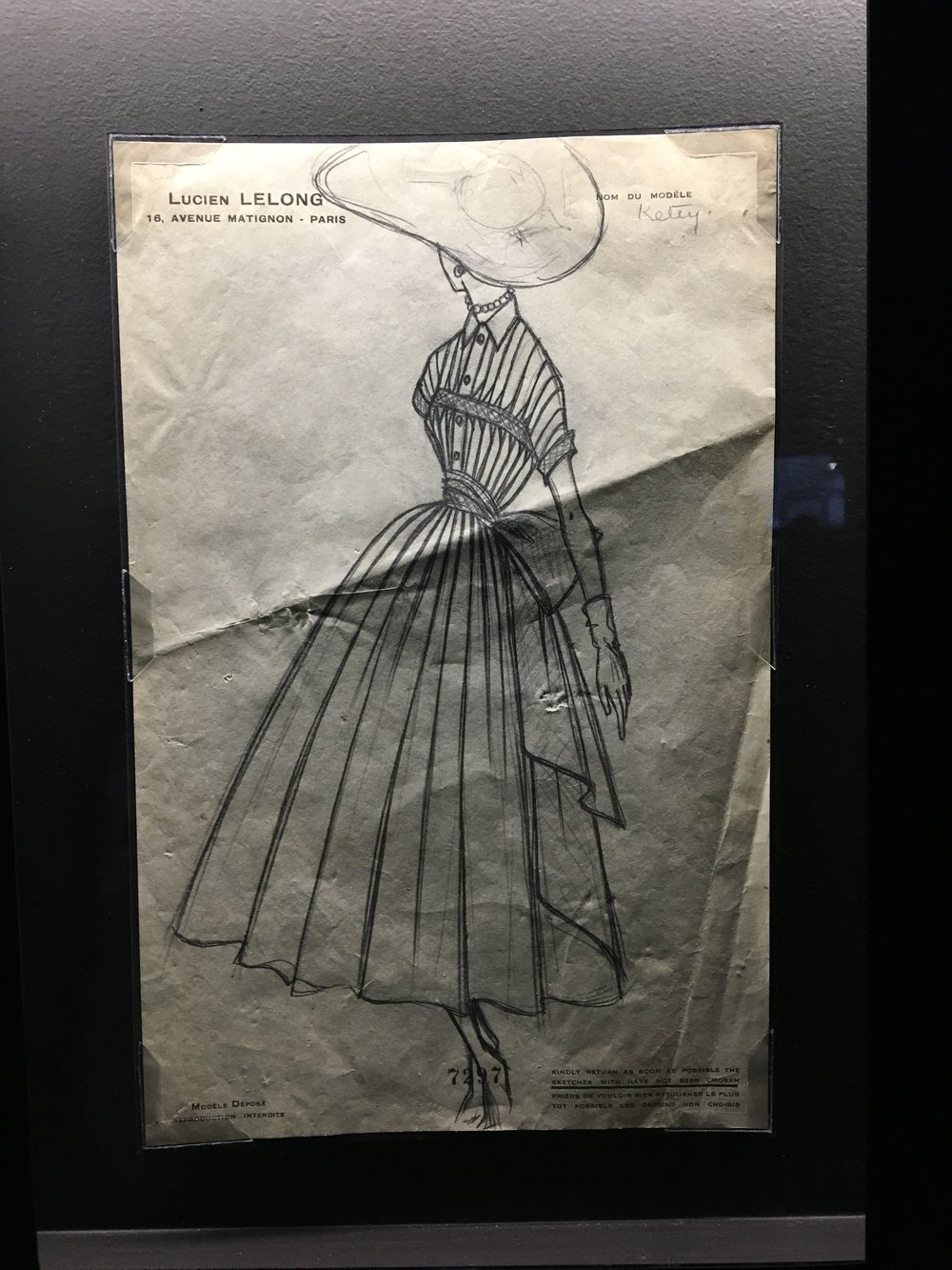 Sketch by Christian Dior for Lucien Lelong, c. 1942.