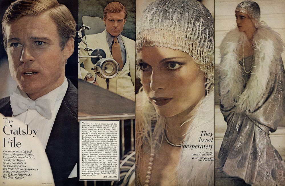 The cast of 'The Great Gatsby' shot by Michals for Vogue, December 1973.