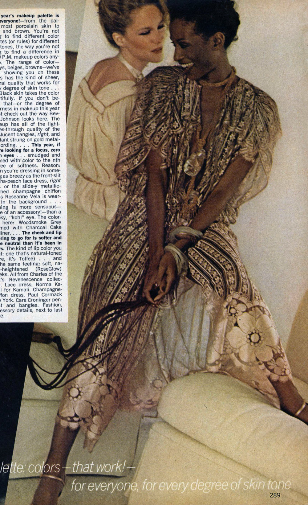 Beverly Johnson in a Norma Kamali lace dress. Photo by Arthur Elgort for Vogue, October 1977.