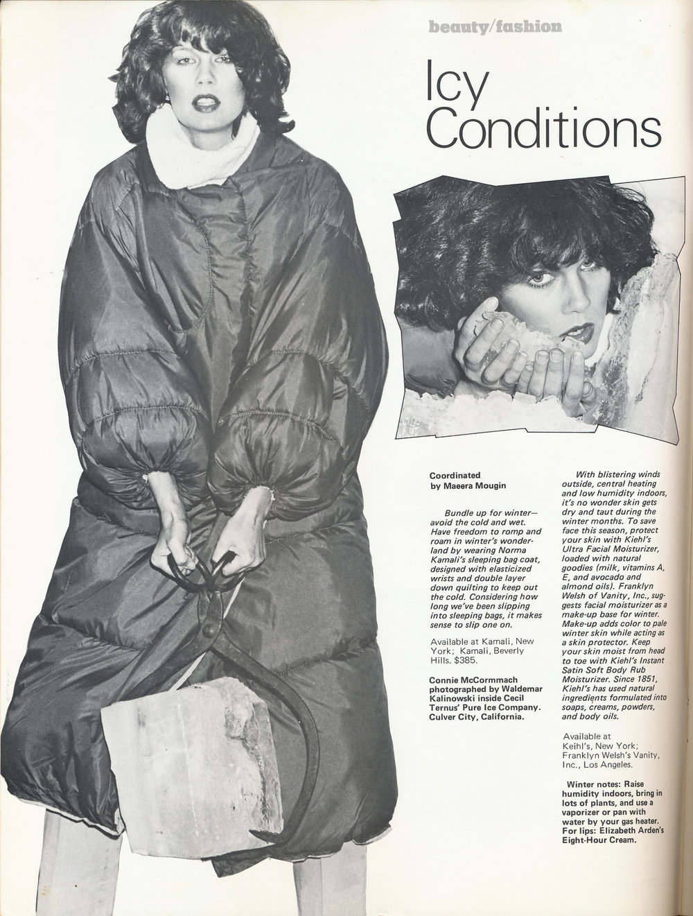 Norma Kamali's iconic sleeping bag coat in Wet, January/February 1978.