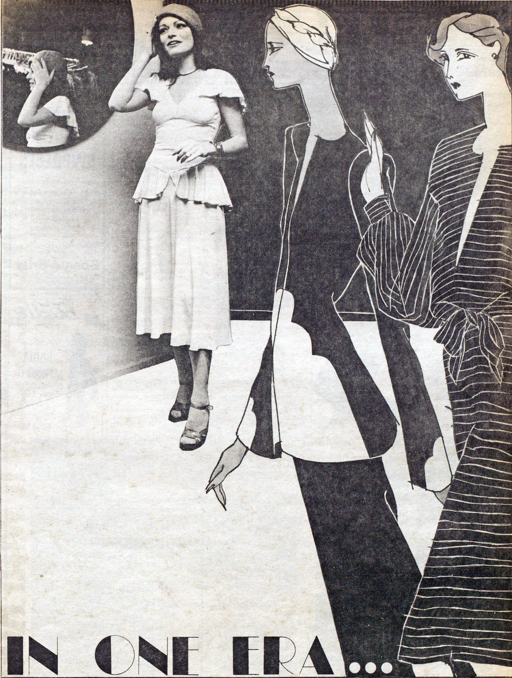 Norma in a 1930s-style jersey dress from her shop. WWD, January 16, 1974.