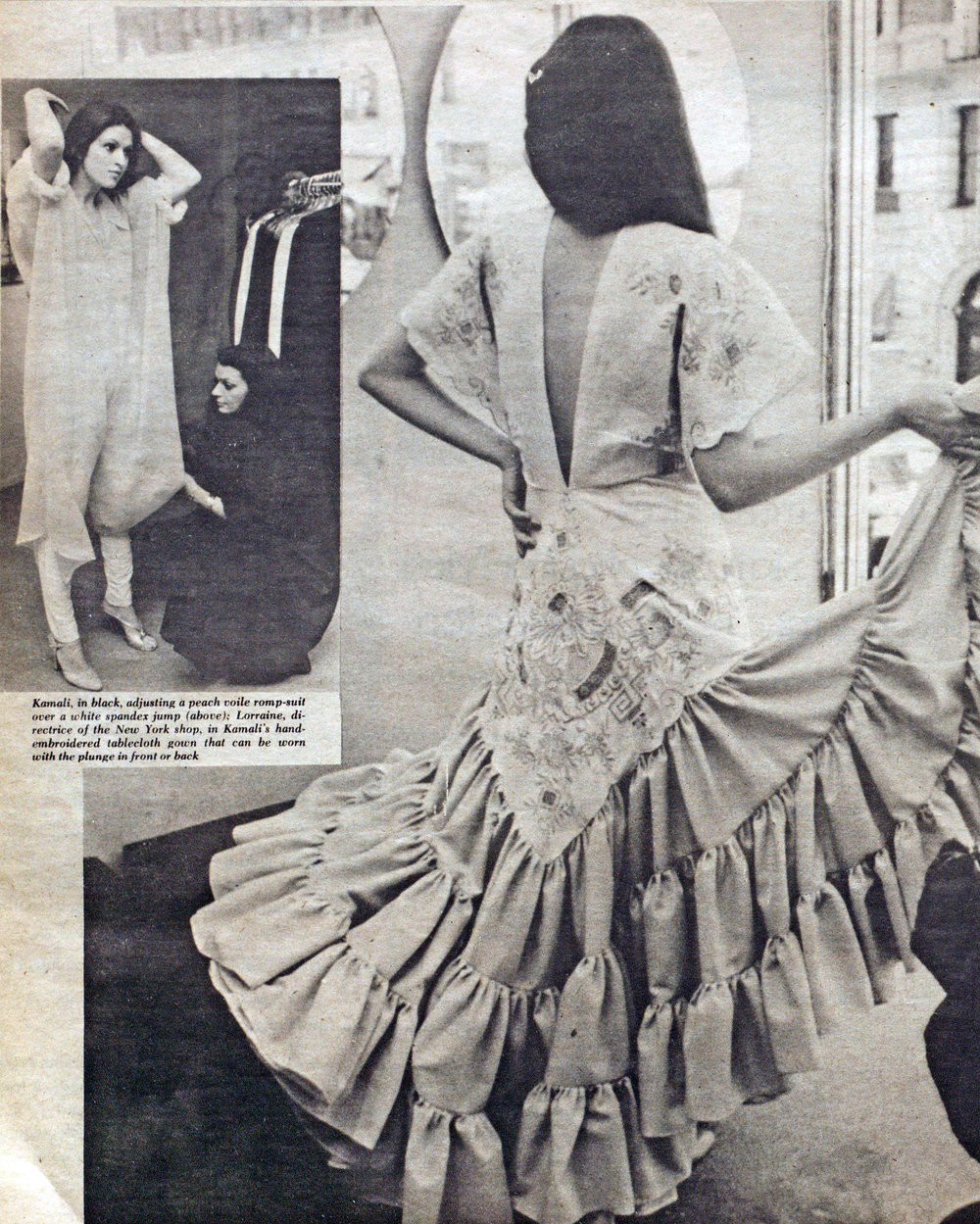 A dress made from a hand-embroidered tablecloth. WWD, April 15, 1977.