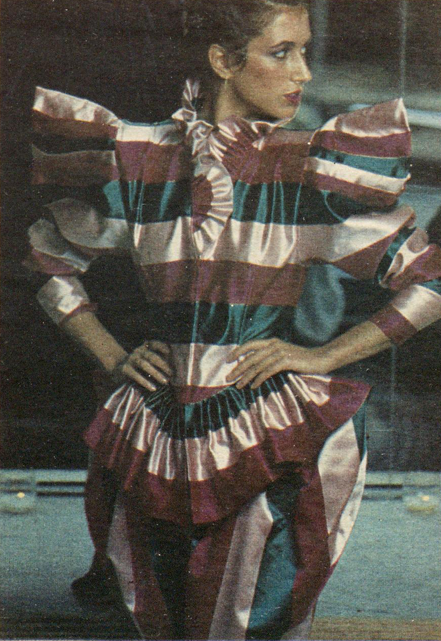 Striped silk by Norma Kamali OMO. WWD, October 27, 1979.
