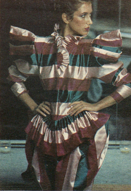 063ce11d6c Striped silk by Norma Kamali OMO. WWD, October 27, 1979.