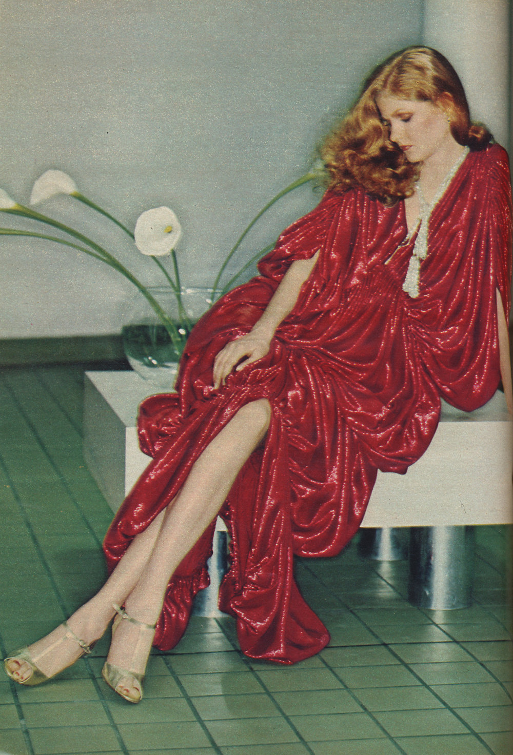 A Kamali ruched lamé dress in Cosmopolitan, March 1978.