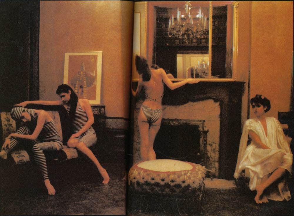 An array of body-conscious and flowing Kamali looks; Deborah Turbeville for Viva, June 1978.