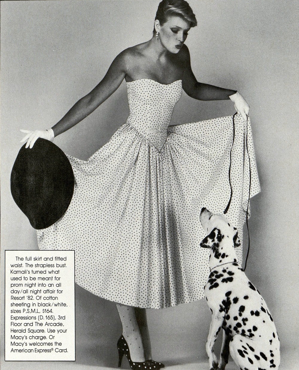 A Bloomingdale's ad featuring a Kamali strapless dress, 1982.