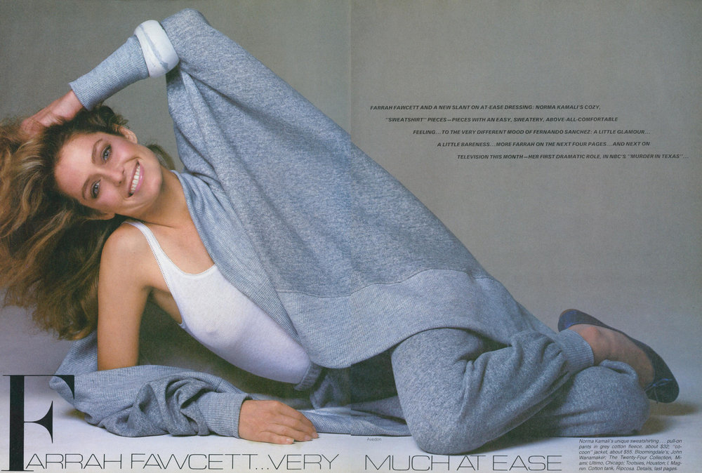 Two icons: Farrah Fawcett and Norma Kamali's grey sweatsuit. Photo by Avedon for Vogue, April 1981.
