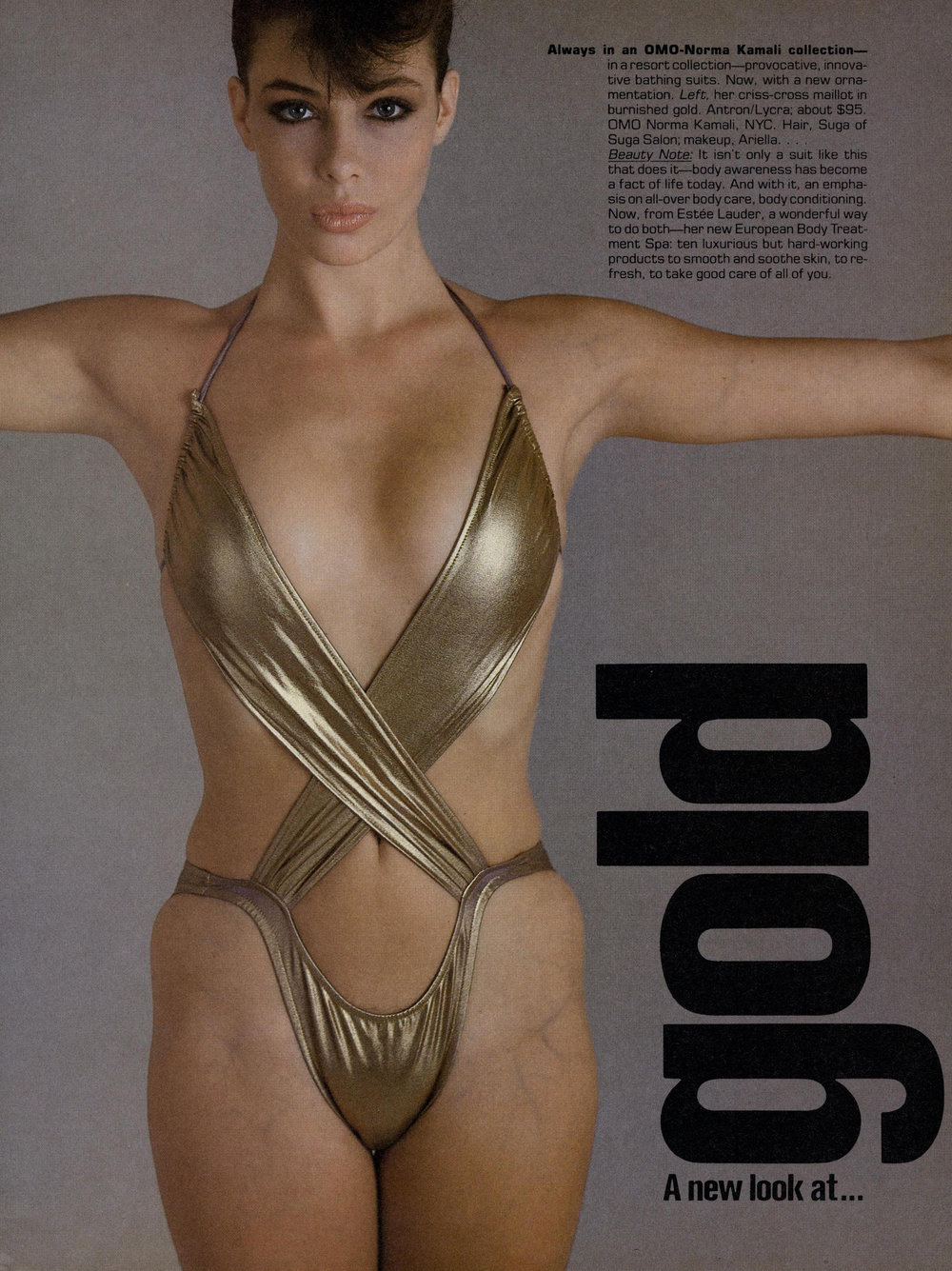 Kelly LeBrock in a minuscule OMO swimsuit. Photo by Avedon for Vogue, November 1981.