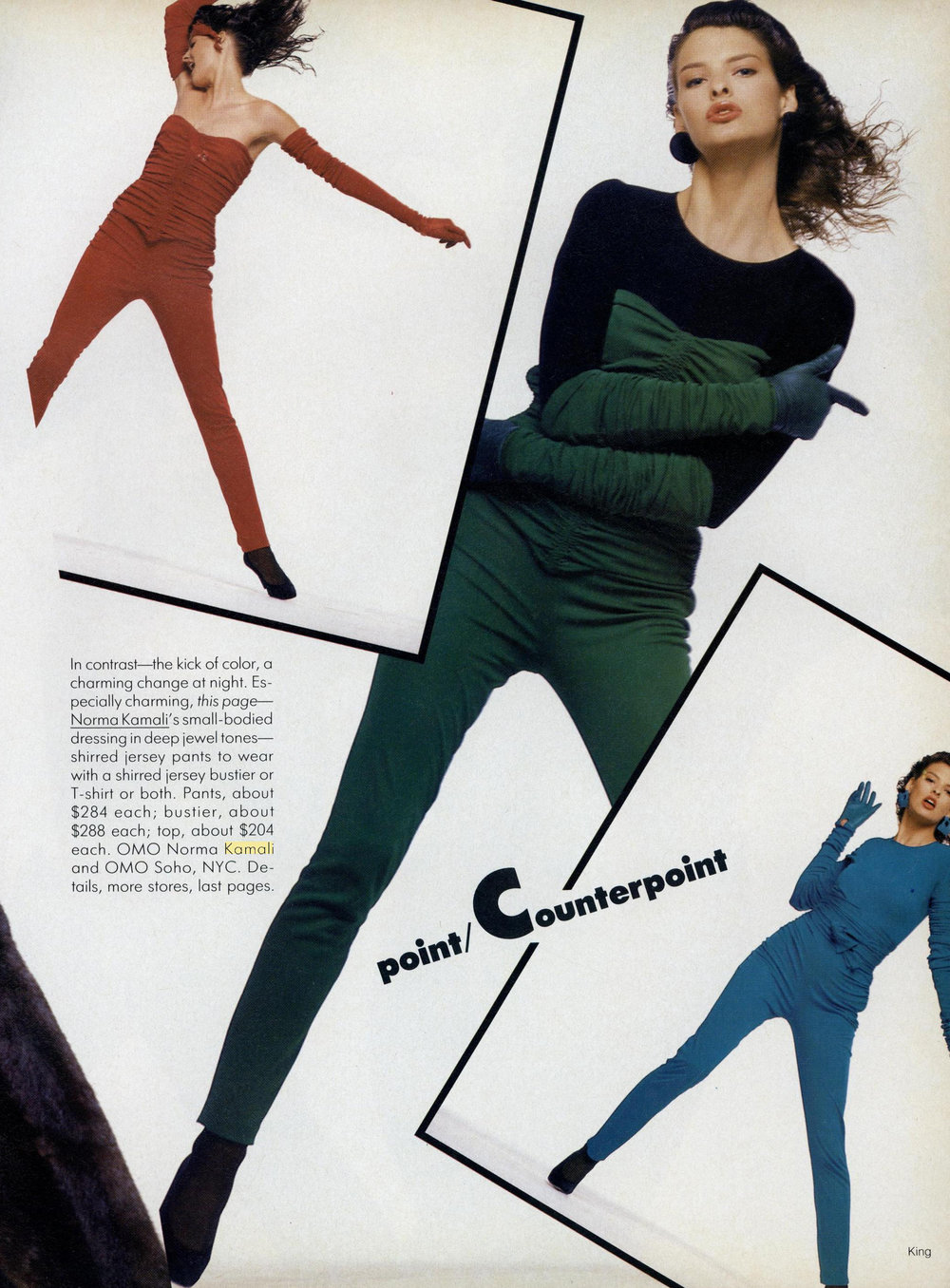 Jewel-tones Kamali tops and tight trousers. Photos by Bill King for Vogue, September 1987.
