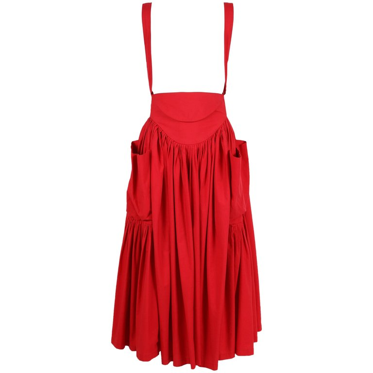 1980's Norma Kamali Red Cotton Gathered Skirt w/Adjustable Suspenders $850