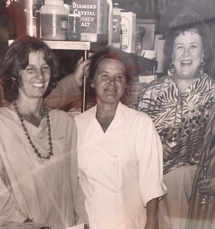 Marian Morash (center) with Laine Gifford (left) and Julia Child (right) in 1983; Marian worked as an executive chef on several of Julia Childs' series in the 1970s and 80s.