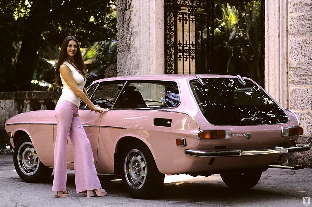 Marilyn with the pink Volvo 1800 ES she received for winning Playmate of the Year.