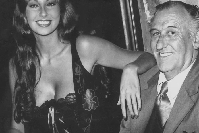 At a party at the Playboy Club to celebrate becoming Playmate of the Year on May 25, 1973.