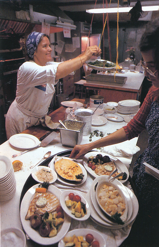 Chef Marian at work. From 'The Victory Garden Cookbook', 1982.