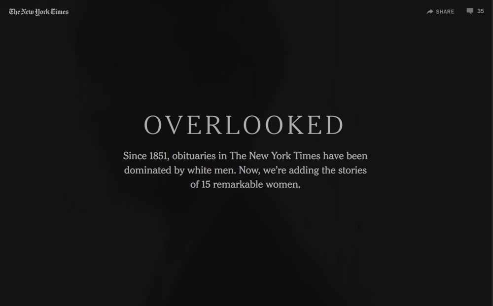 """Women We Overlooked in 167 Years of New York Times Obituaries"""