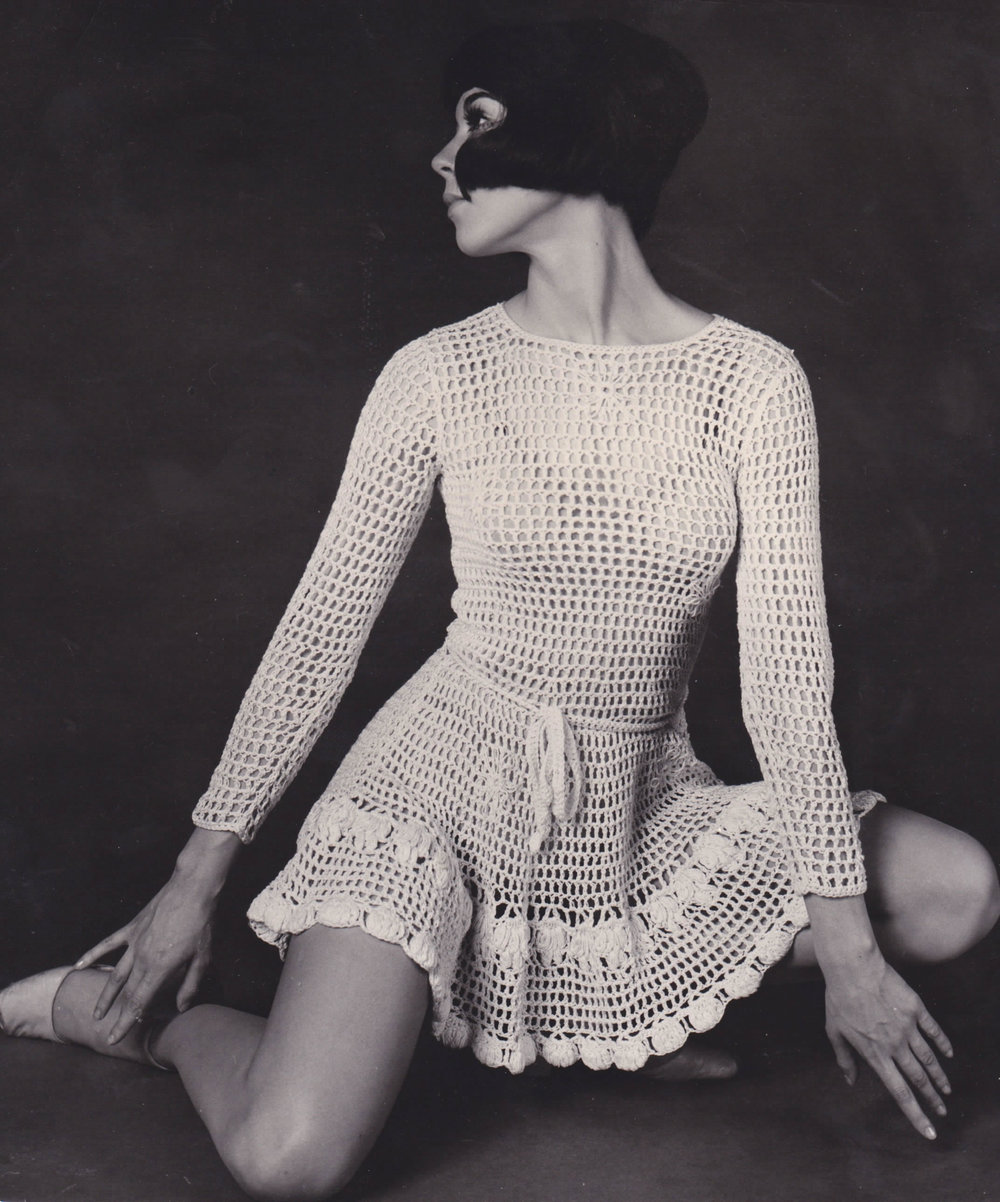 The see through Mini Dress, made of lace or crochet, that Vicky Tiel made to wear while working at the Cafe Wha and which she began selling while still in school.