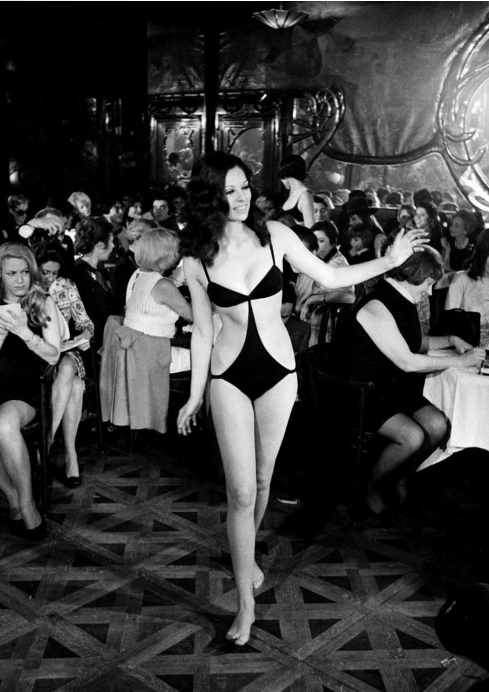 A swimsuit design by Elizabeth Taylor for Mia-Vicky at the Maxim's show in Paris, January 1968.