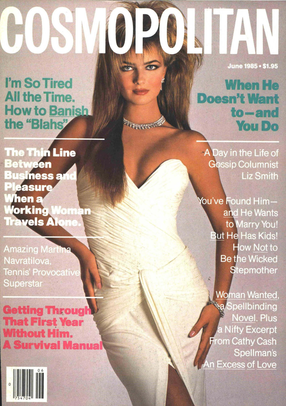 Paulina Porizkova in white Vicky Tiel on the cover of Cosmopolitan, June 1985; photo by Francesco Scavullo.