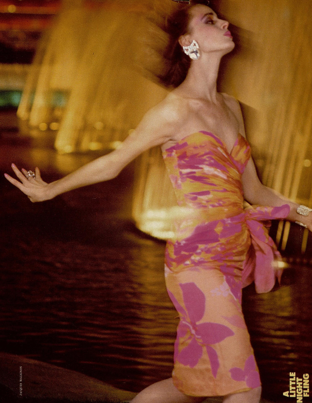 Ruched, brightly colored chiffon shot by Jacques Malignon for Harper's Bazaar, March 1985.