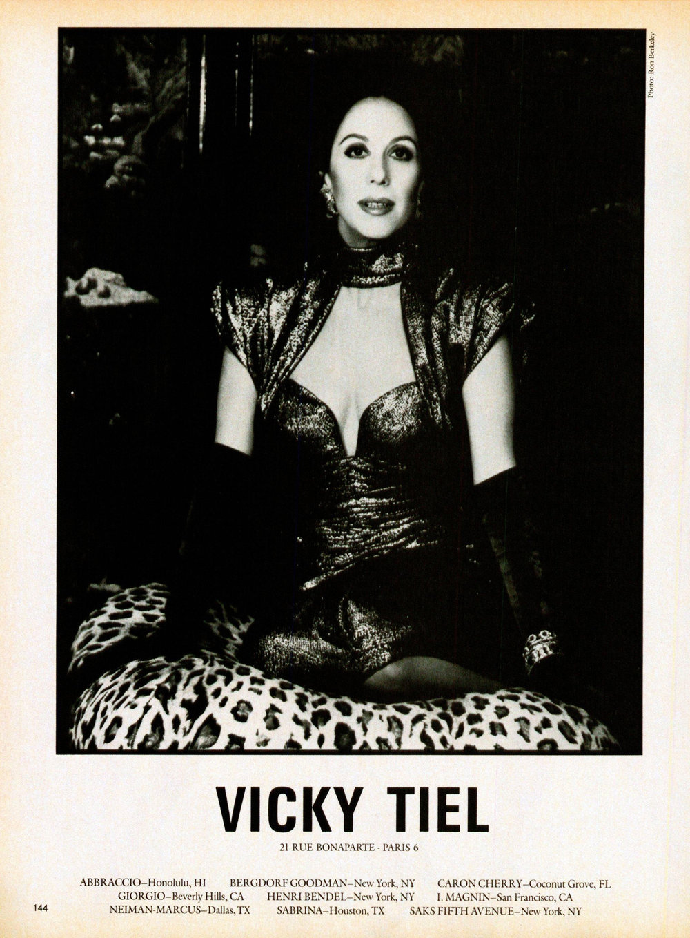 The same dress on Vicky Tiel in an ad from 1985.