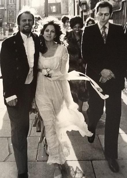 Vicky Tiel and Ron Berkeley walking to their wedding reception in London, 1971.