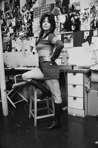 Vicky Tiel in her workroom, 1971.