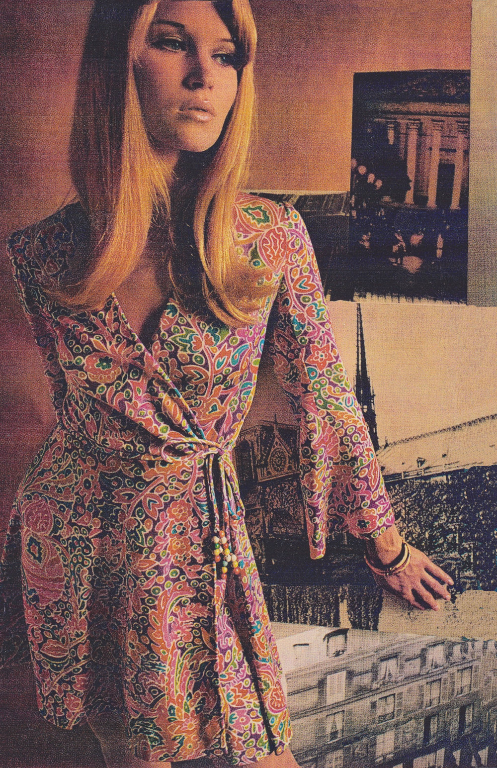 A wrap-dress designed by Fonssagrives-Tiel in 1967 and licensed to Joan Arkin, a NYC dress company. Redbook, 1967.