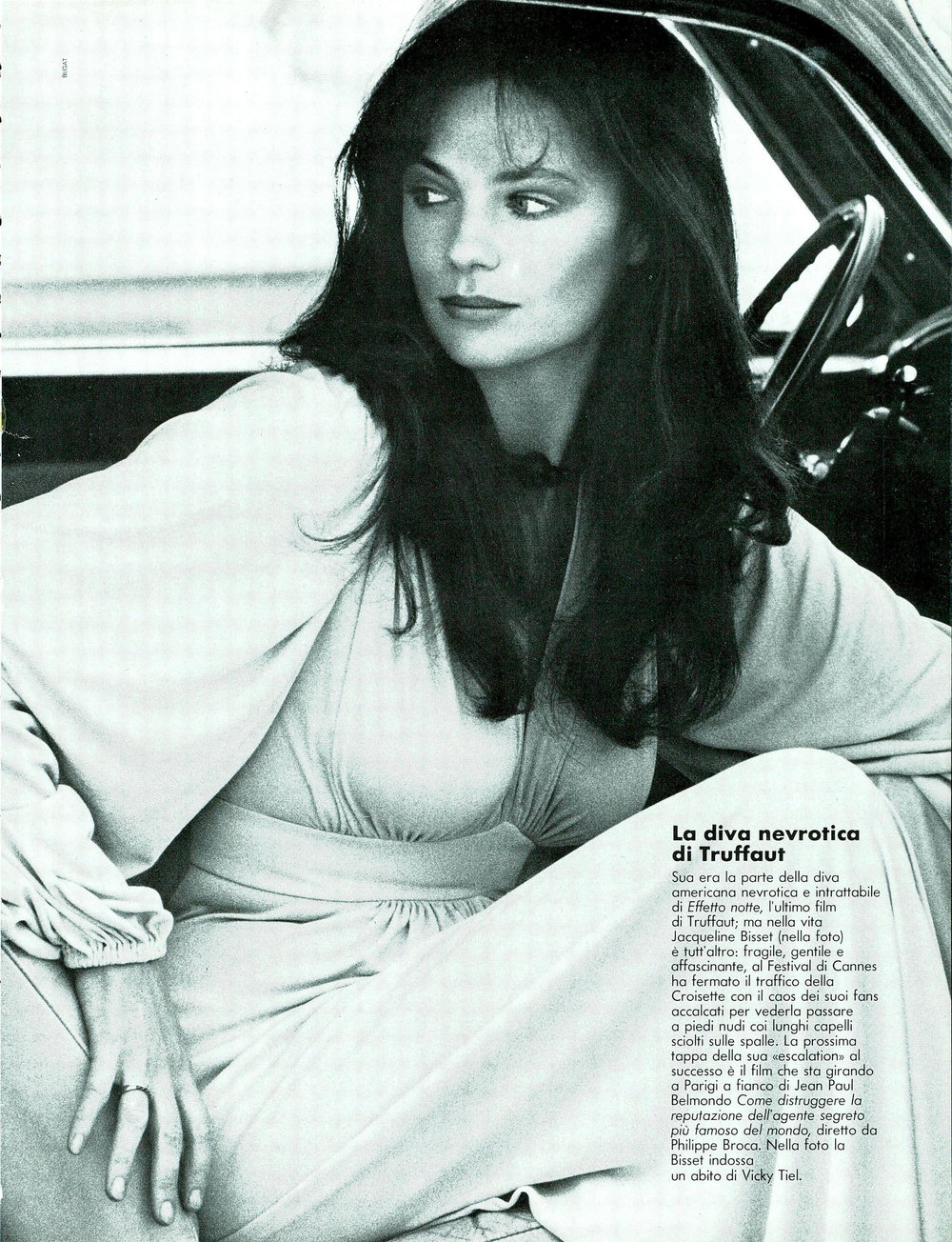 Jacqueline Bisset in a dress by Vicky Tiel. Photo by Bugat for Vogue Italia, January 1974.