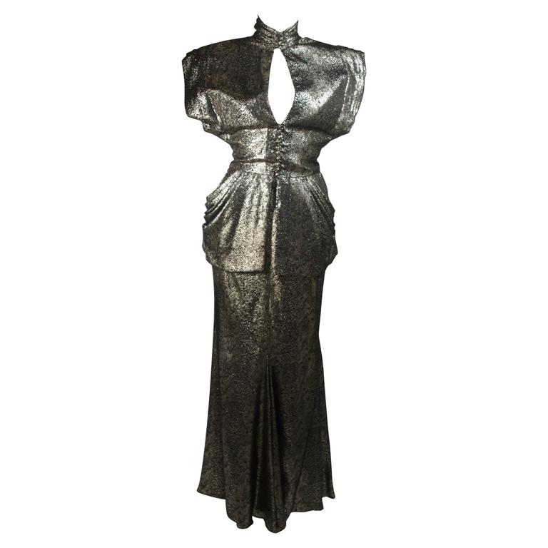Vicky Tiel Gold Metallic with Black Evening Ensemble Size Small $2,495