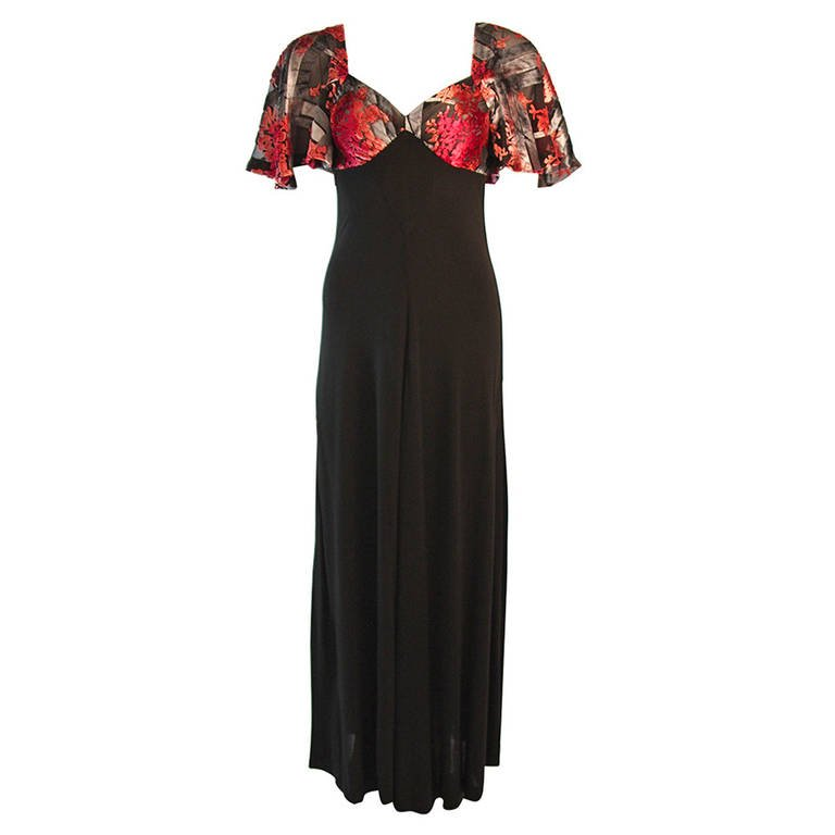 Romantic Vicky Tiel Coral Silk Velvet Burnout Gown with Bell Sleeves $1,895