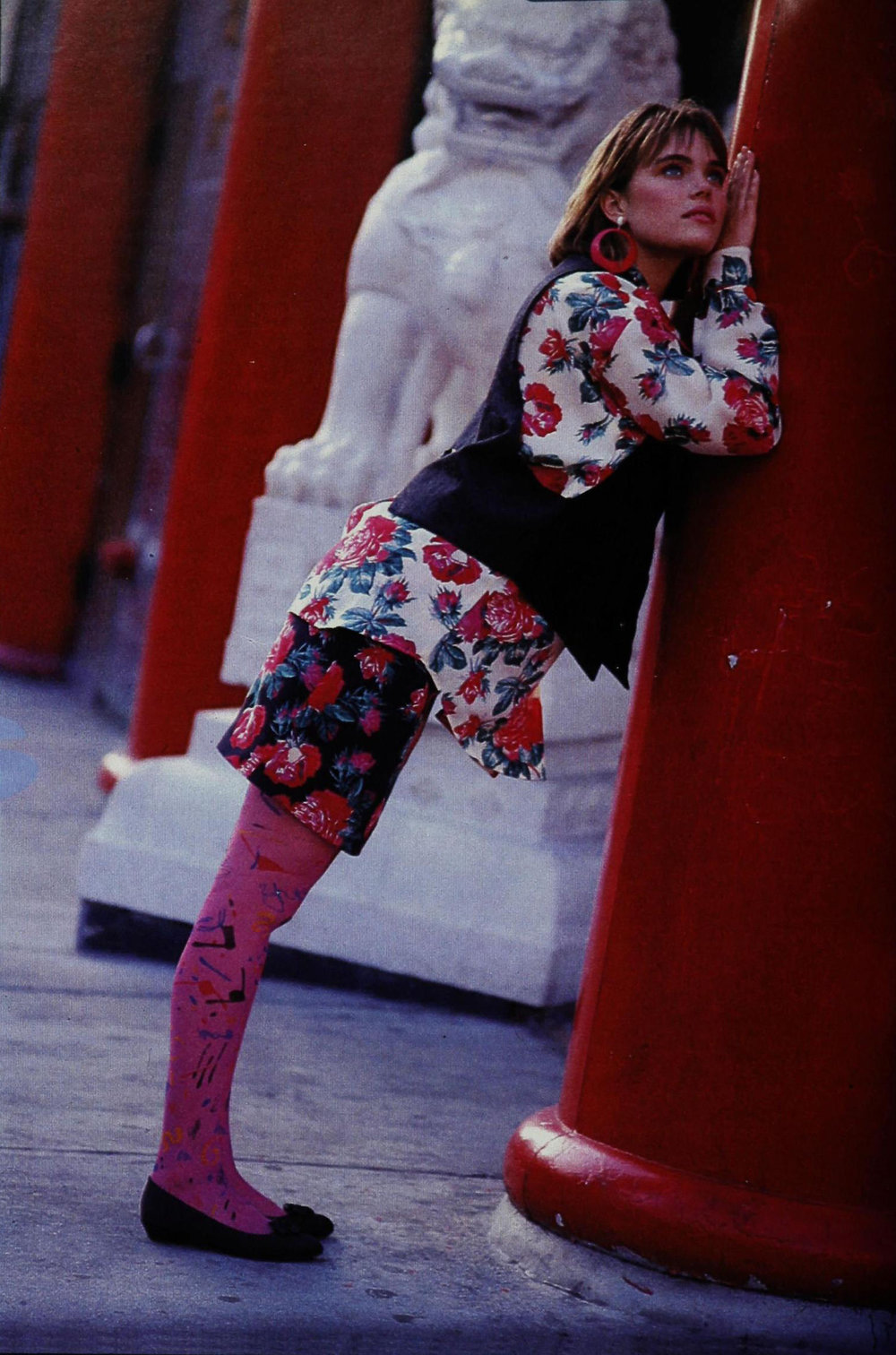 A floral look by Anna Sui. Shot by Knut Bry for Seventeen, September 1985.