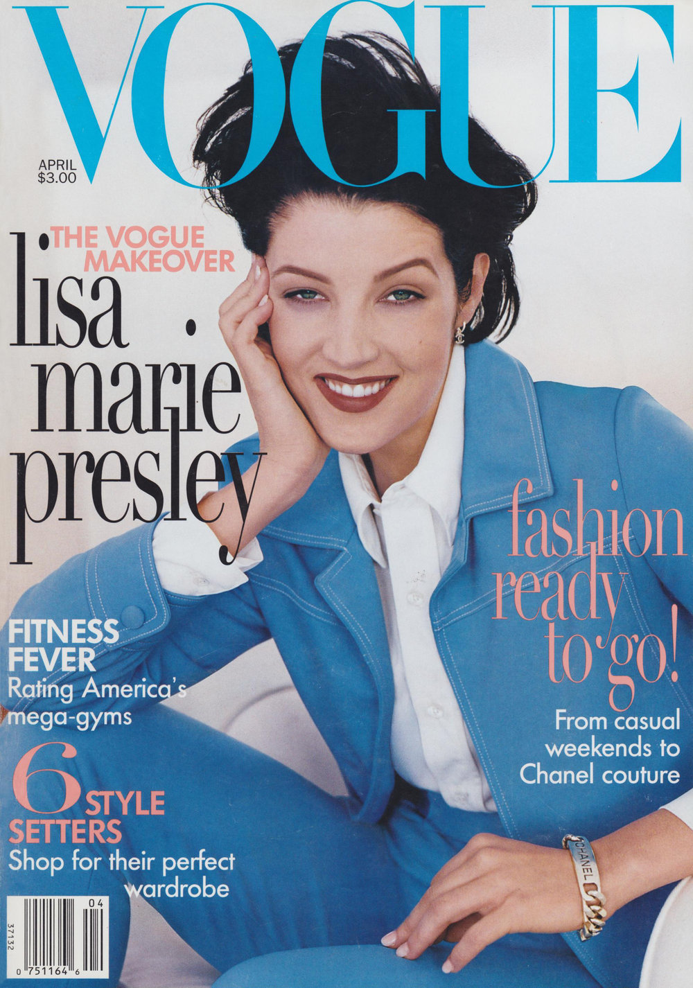 Lisa Marie Presley wearing an Anna Sui suit on the cover of Vogue, April 1996. Photo by Steven Meisel.