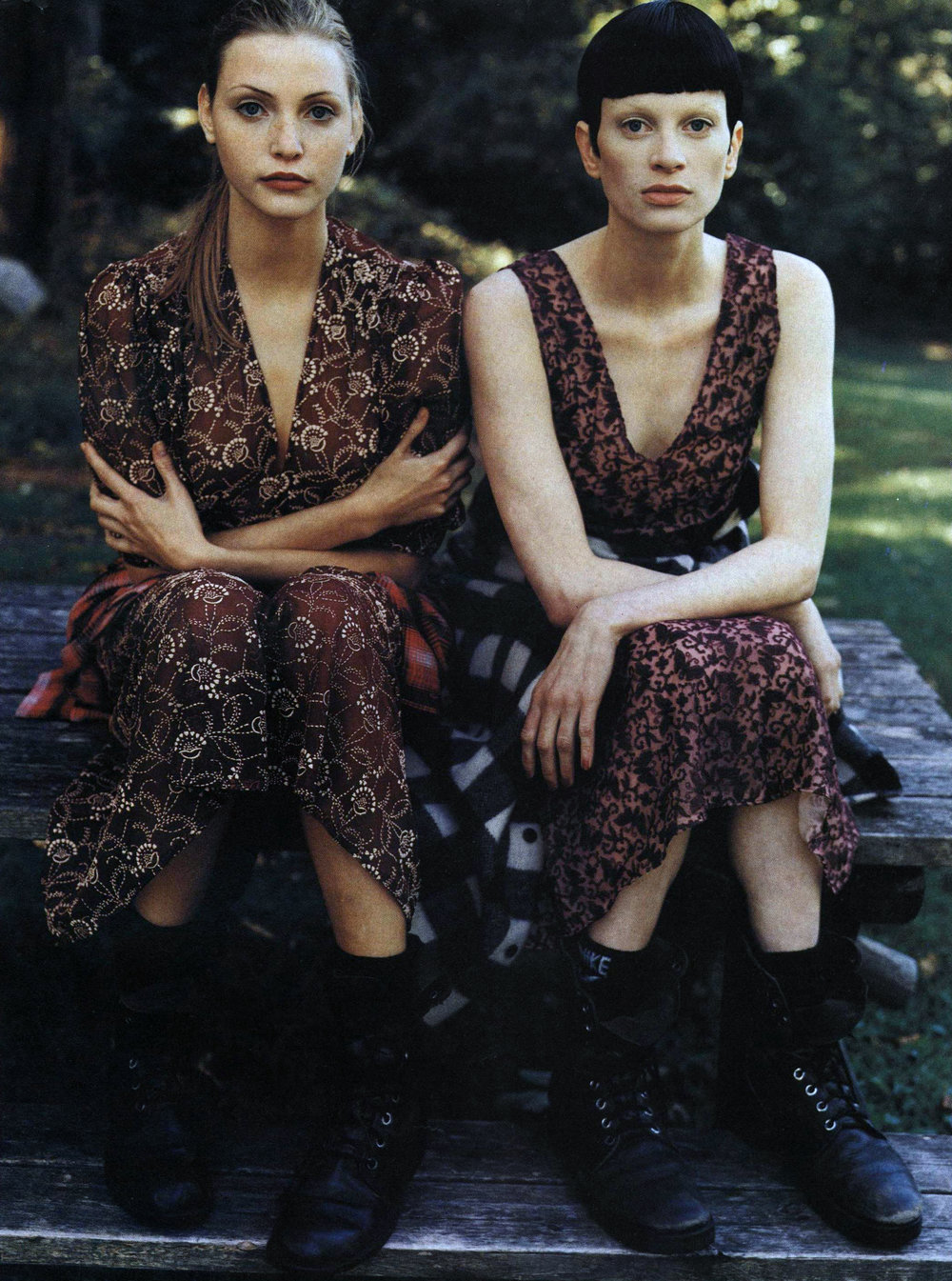 """The Grunge and Glory"" with Nadja Auermann and Kristen McMenamy in Sui dresses. Photo by Steven Meisel for Vogue, December 1992."