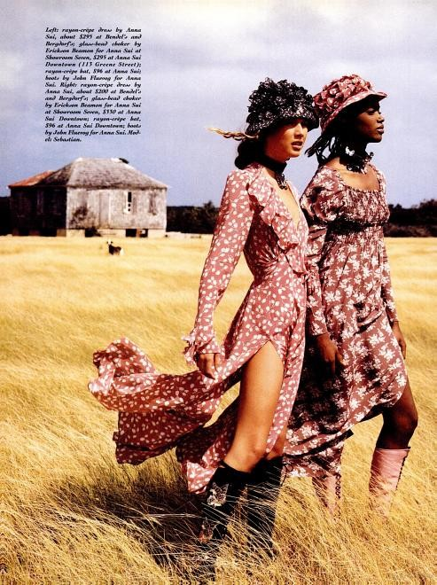 Basia Milewicz and Sebastian Cardin in Anna Sui dresses and hats. Shot by Troy Word for New York Magazine, 1993.
