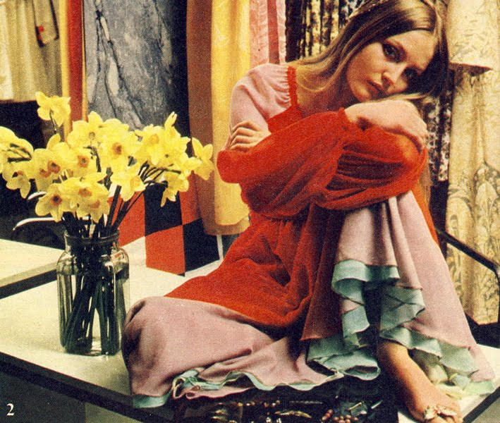 Ingrid wearing Foale & Tuffin in their boutique. The Daily Telegraph Magazine, July 17th 1970. Photo by Duffy.