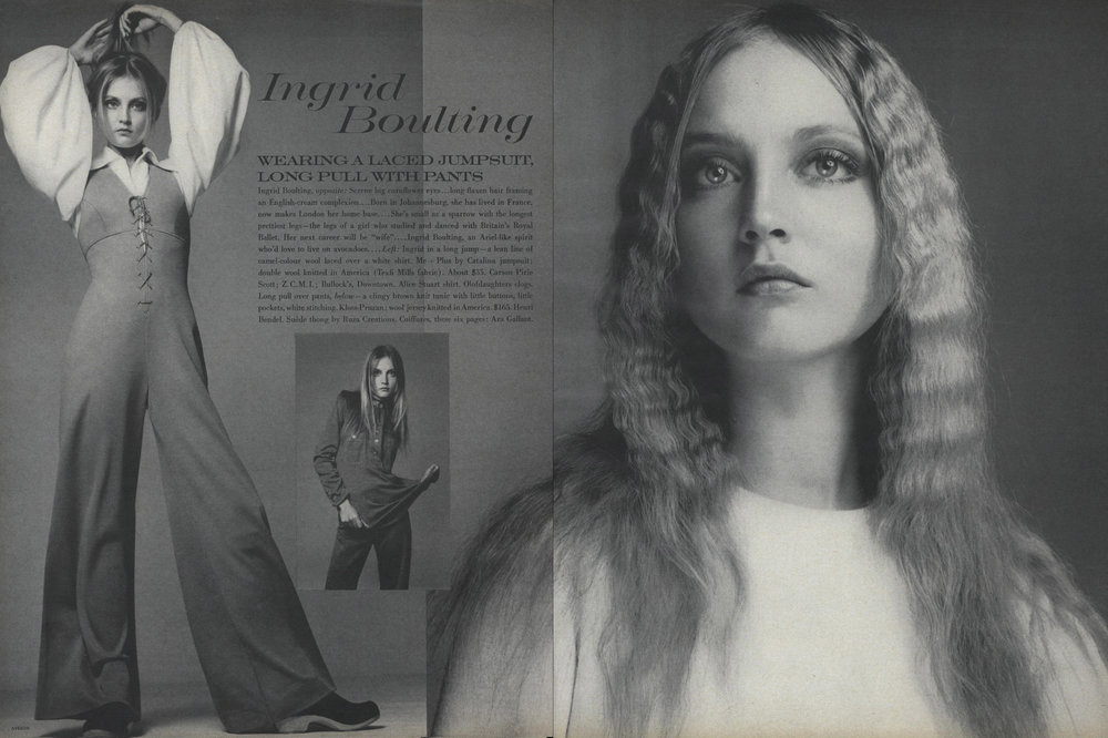 A spread from Vogue, October 15th, 1969. Shot by Richard Avedon.