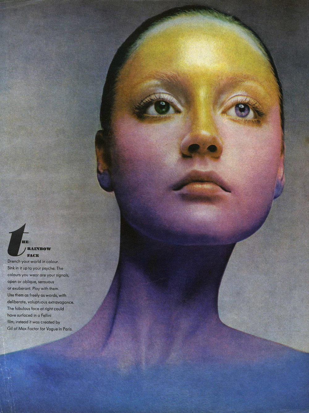 """The Rainbow Face"" photographed by Richard Avedon for Vogue, November 1970."