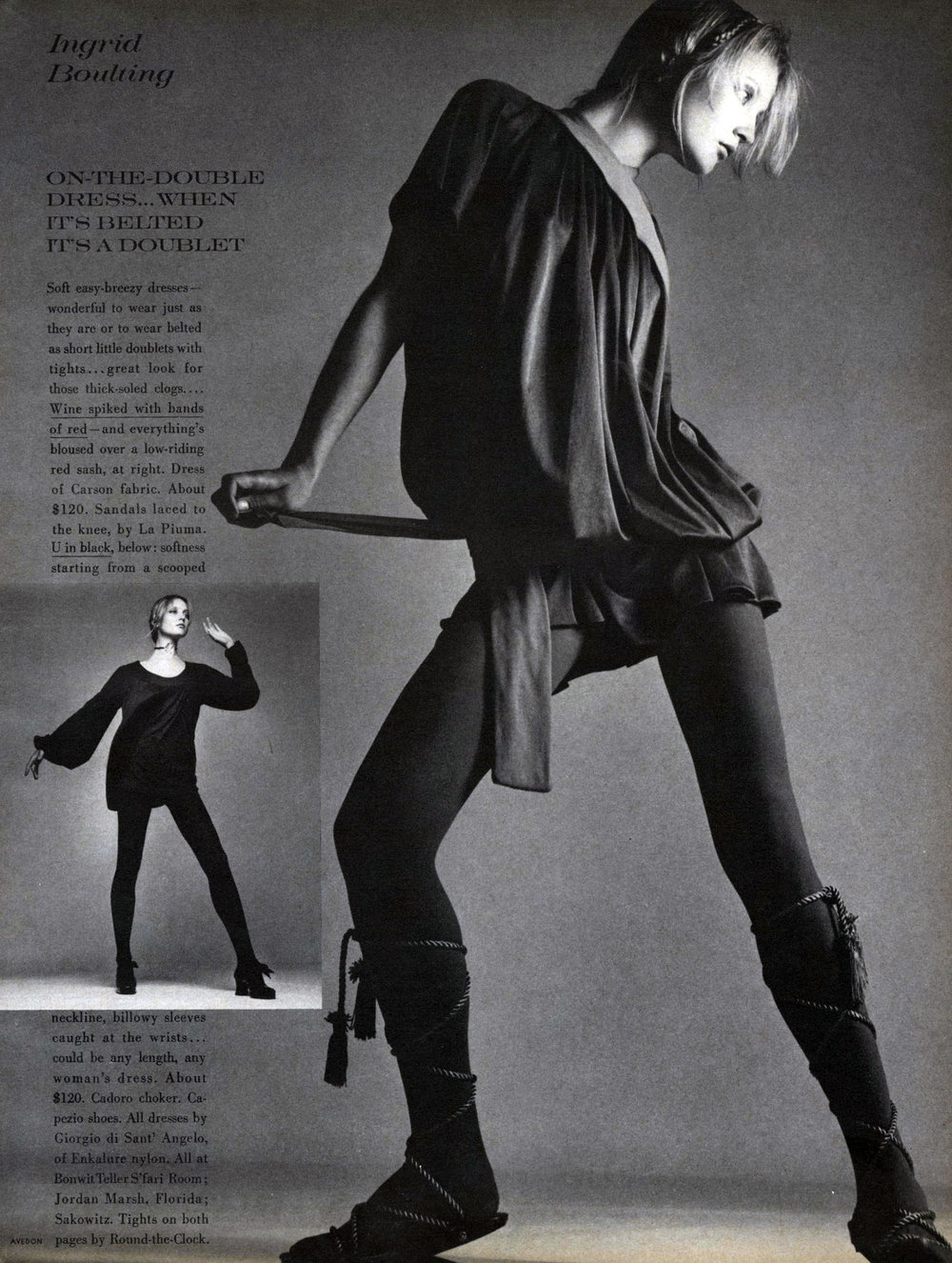 Dancerlike Ingrid photographed by Richard Avedon for Vogue, October 15th, 1969.