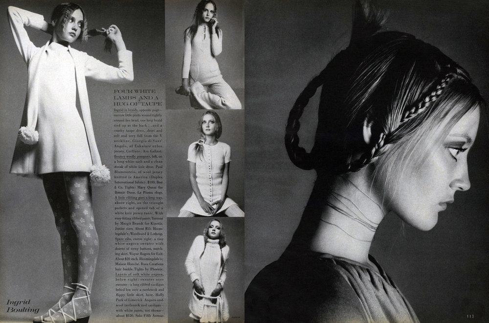 Another spread from Vogue, October 15th, 1969. Hair by Are Gallant.
