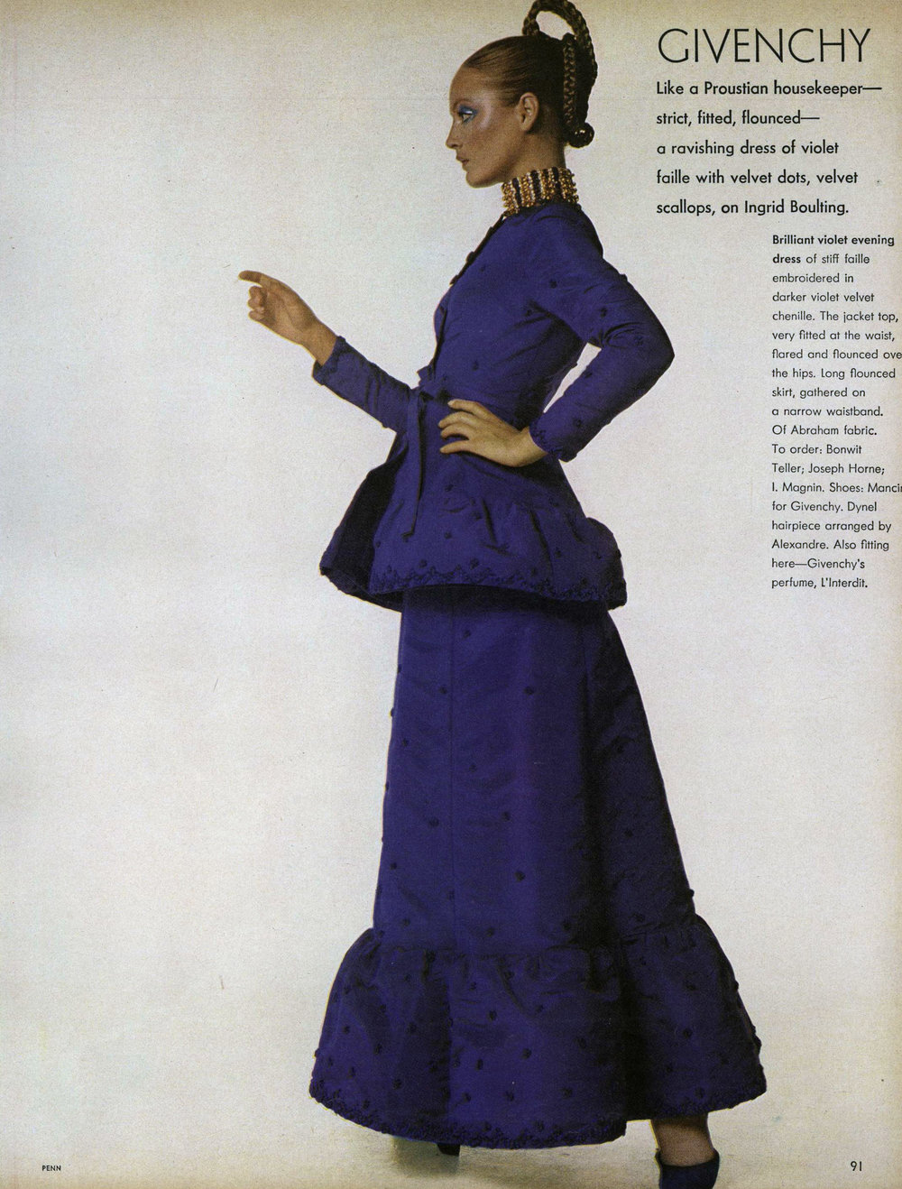 Wearing Givenchy couture for Irving Penn. Vogue, September 15, 1970.