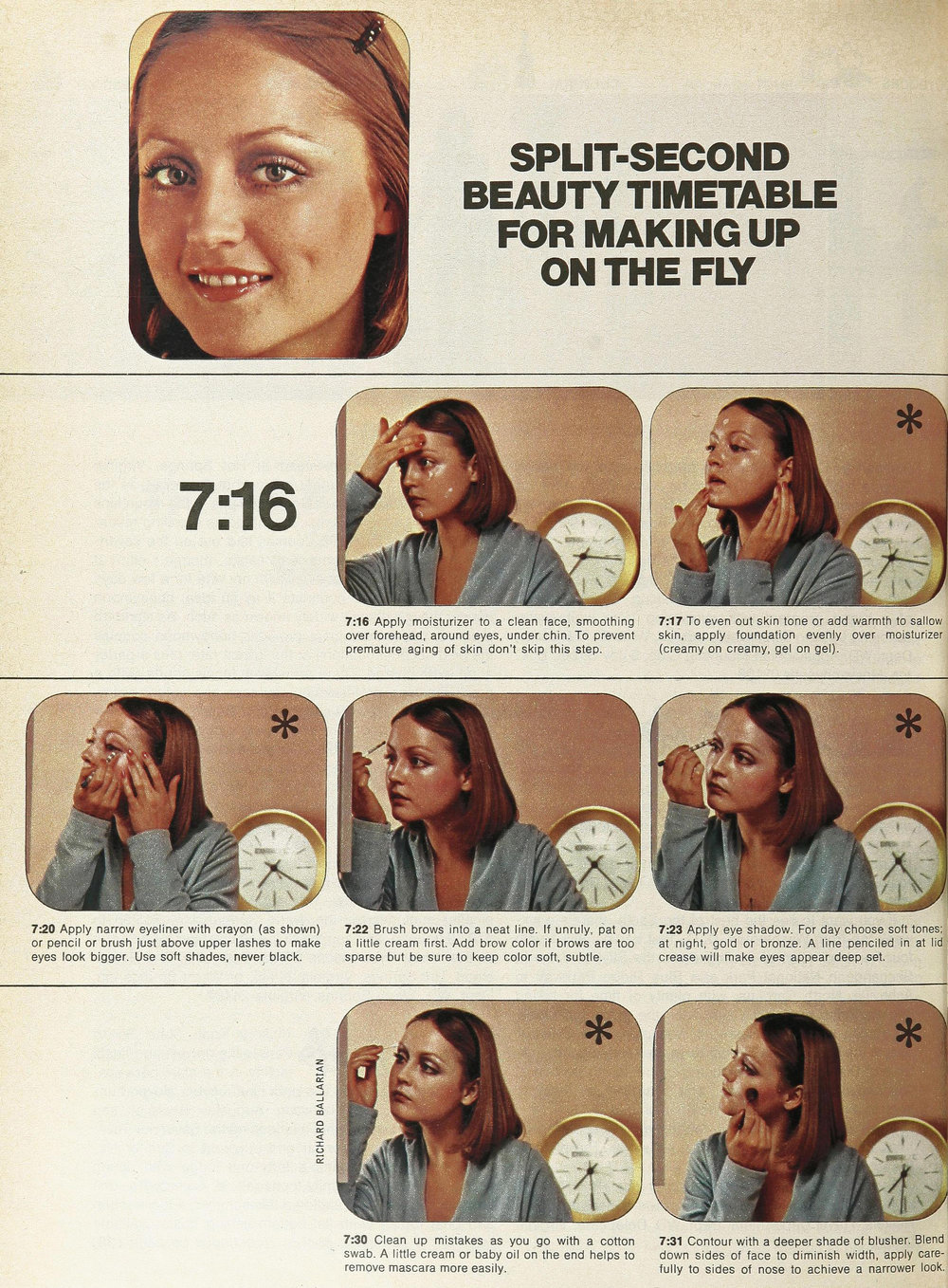 Ingrid showing off her morning beauty routine in Women's Day, April 1970. Photos by Richard Ballerina.