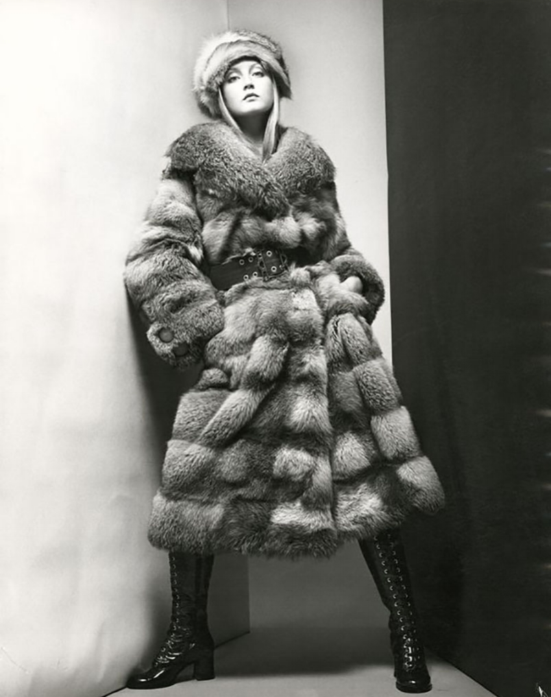 Ingrid Boulting in fur for the Sydney Morning Herald, 1975. Photo by David Mist.