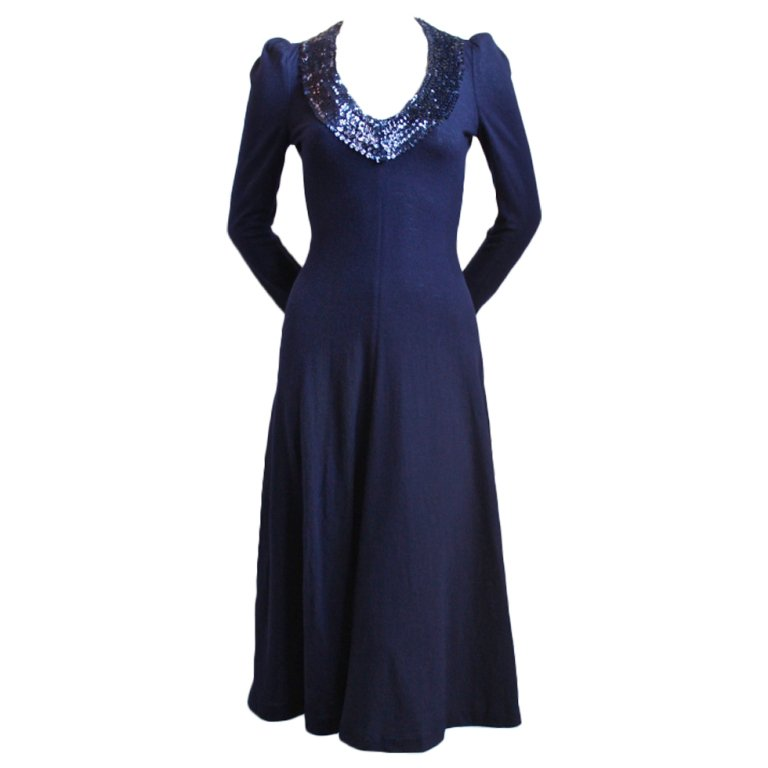 1960's BIBA wool dress with sequined trim $750