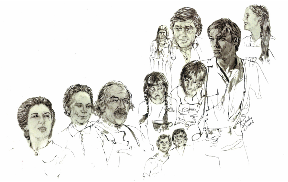 Sandy's illustrations for the opening of 'The Waltons.'