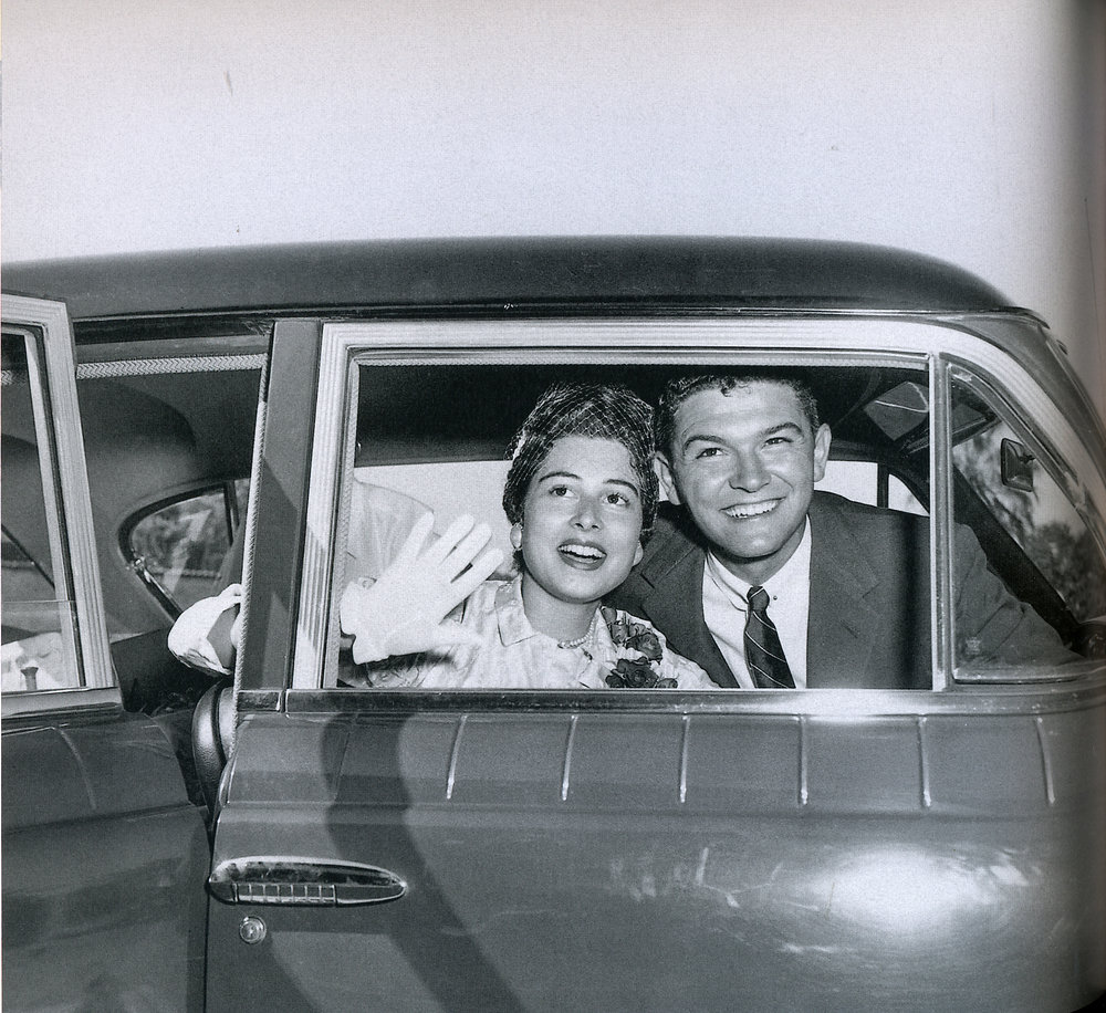 Leta and Mel on their wedding day, 1955.