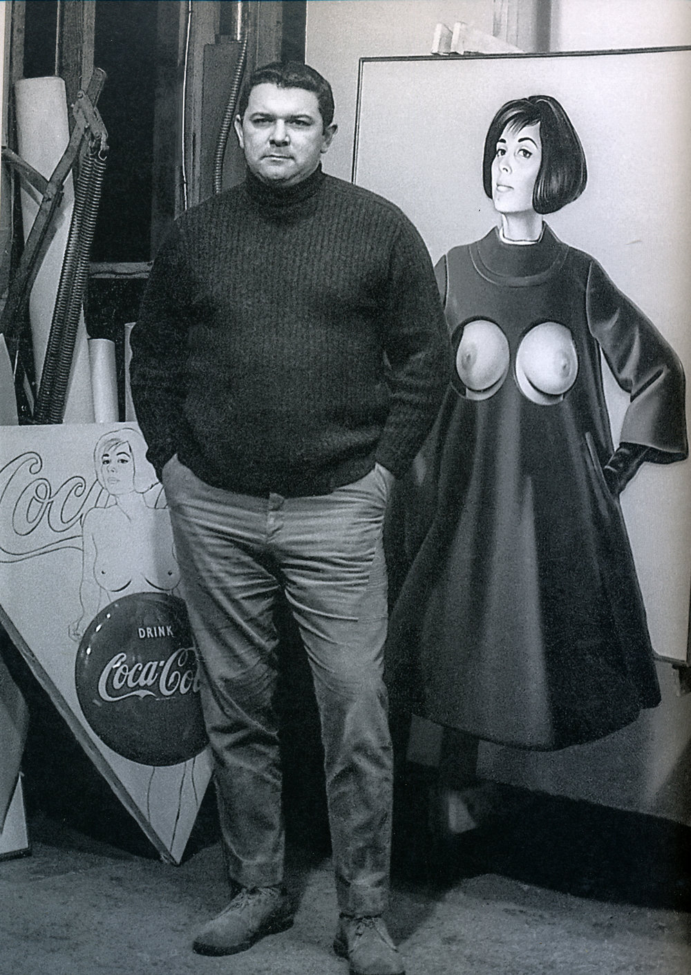 "Mel in front of ""Blue Coat"" and ""Things go better with"" in his Union City studio, 1967."