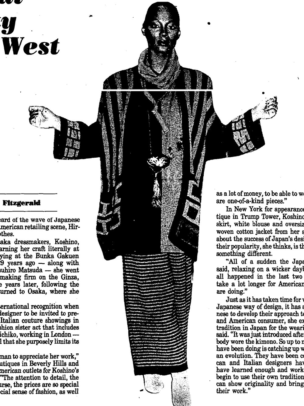 An ensemble by Koshino. Newsday, October 13, 1983.