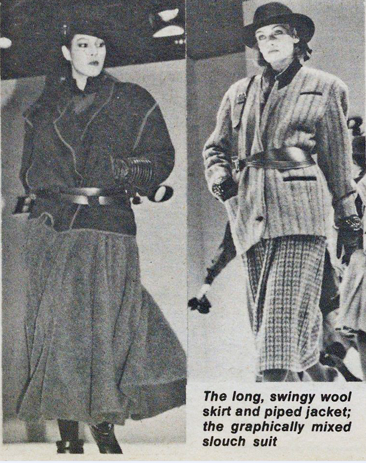 Two looks by Hiroko Koshino. WWD, May 26, 1983.